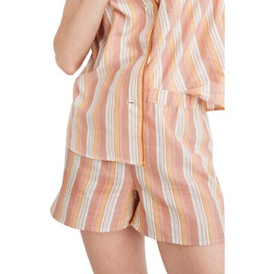 Madewell Bedtime Rainbow Stripe Pajama Shorts, Orange