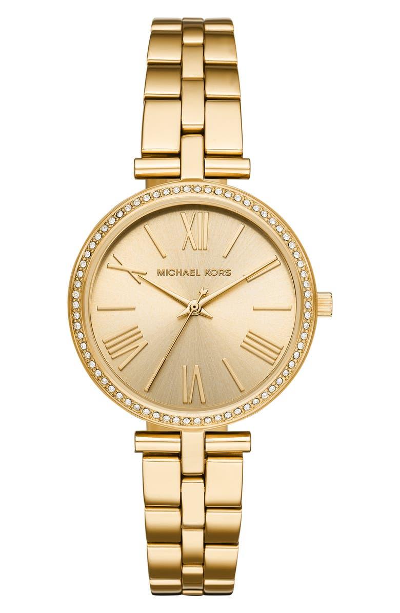 MICHAEL KORS Maci Bracelet Watch, 34mm, Main, color, GOLD