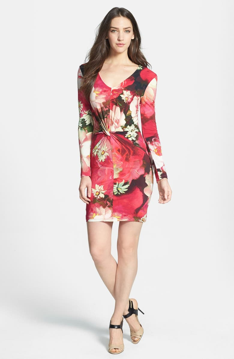 TED BAKER LONDON 'Rose on Canvas' Gathered Stretch Sheath Dress, Main, color, 670