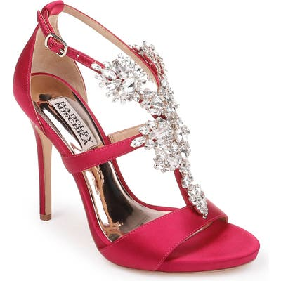 Badgley Mischka Leah Embellished Sandal- Red