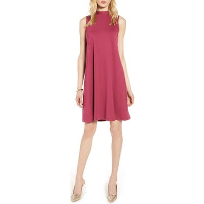 Halogen Mock Neck Sleeveless Ponte Shift Dress, Burgundy