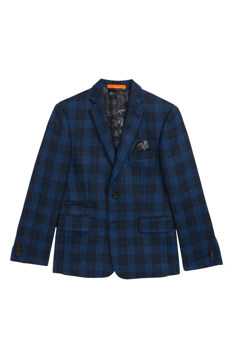 TALLIA Plaid Jacket, Main, color, BLUE/ CREAM