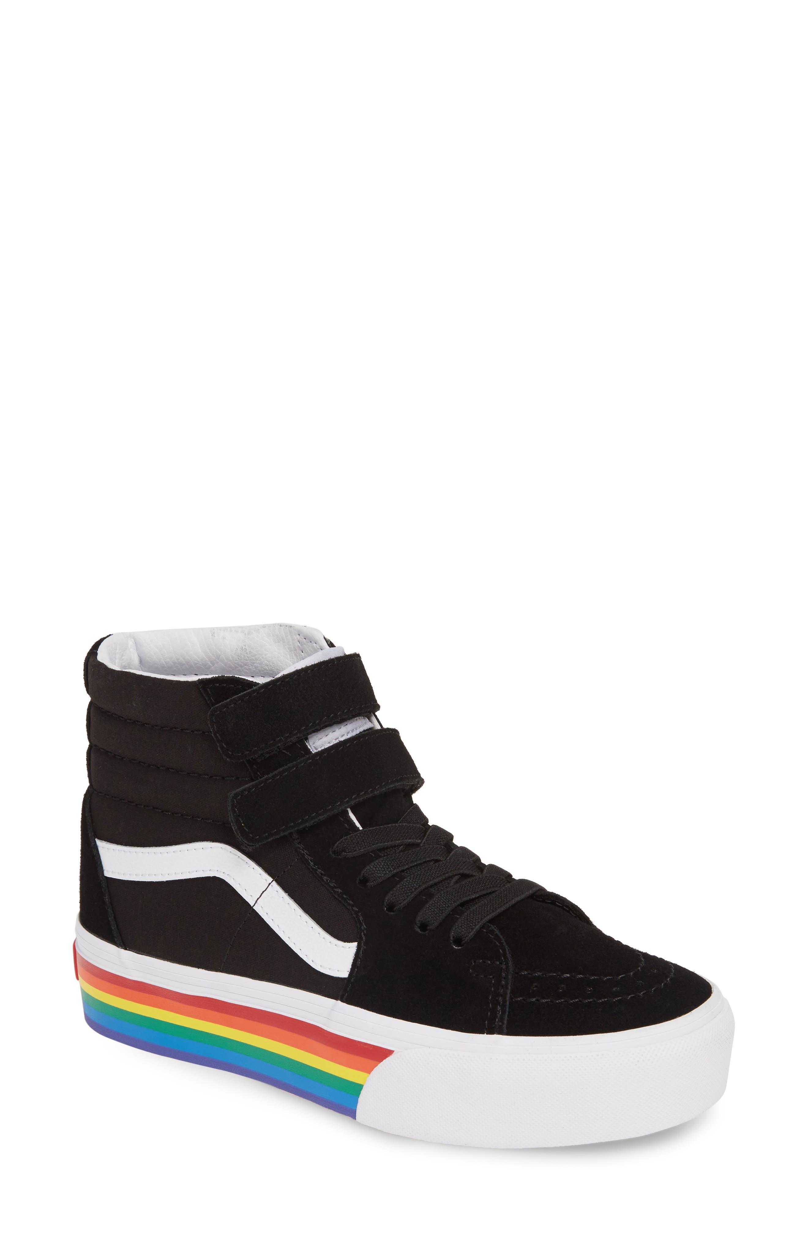 ,                             Sk8-Hi V Rainbow Platform Sneaker,                             Main thumbnail 1, color,                             RAINBOW BLACK/ TRUE WHITE