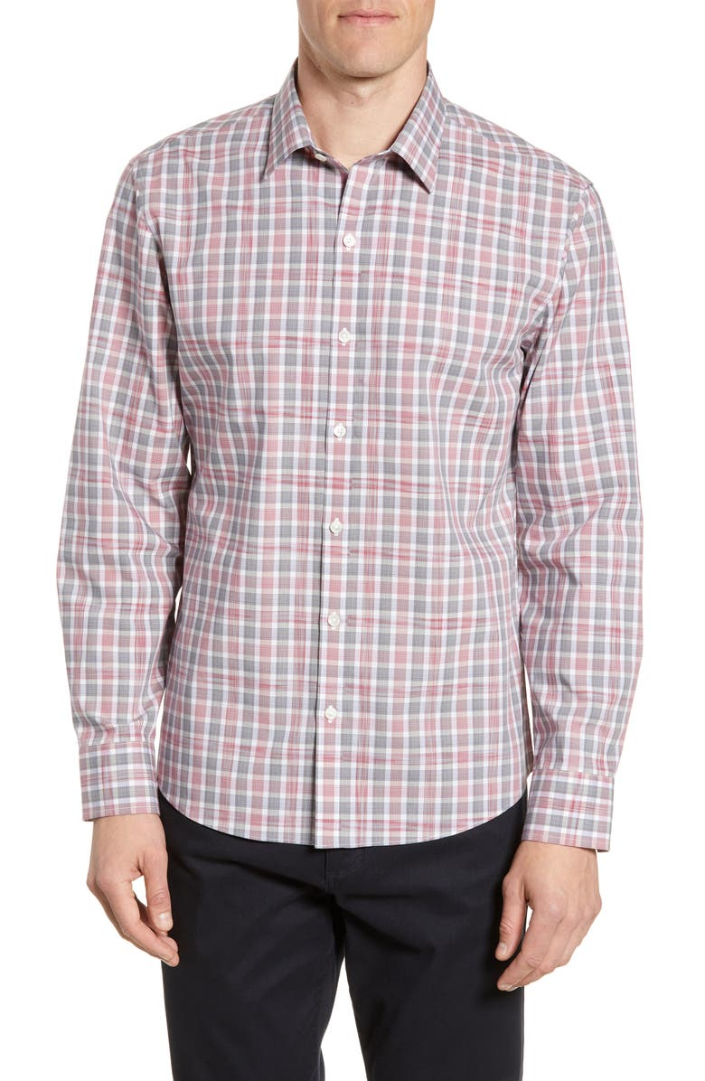 ZACHARY PRELL Schmidt Regular Fit Plaid Button-Up Shirt, Main, color, RED