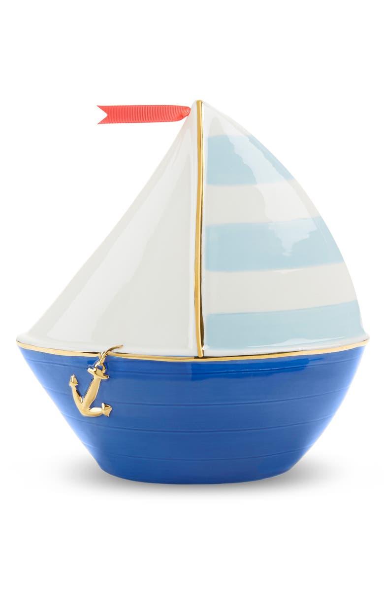 BABY ASPEN Sailboat Ceramic Bank, Main, color, WHITE/ NAVY/ LIGHT BLUE
