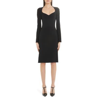 Dolce & gabbana Sweetheart Neck Long Sleeve Cady Crepe Dress, US / 40 IT - Black