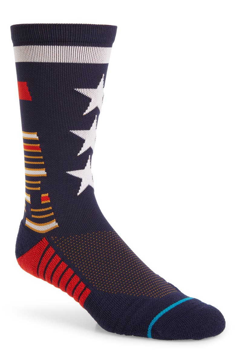 STANCE Tribute Crew Socks, Main, color, NAVY
