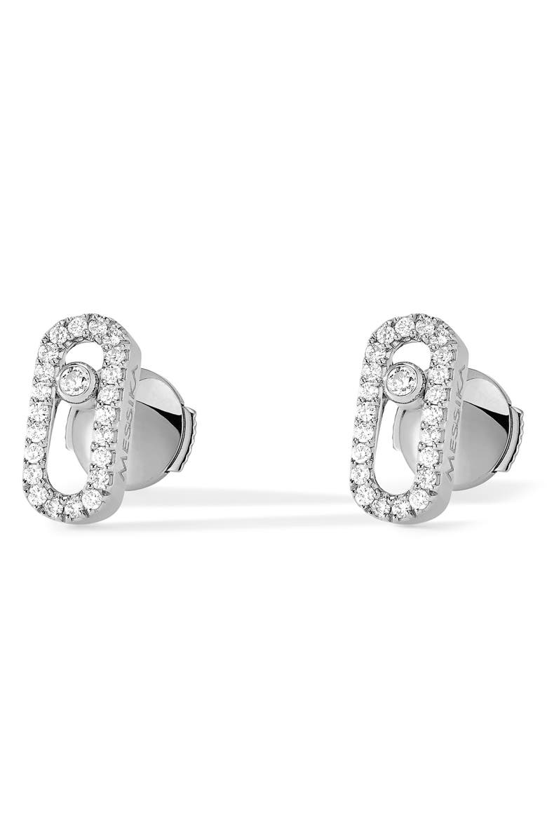 MESSIKA Move Uno Pavé Diamond Stud Earrings, Main, color, WHITE GOLD