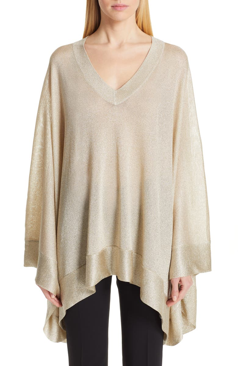 MISSONI Metallic Poncho Sweater, Main, color, GOLD