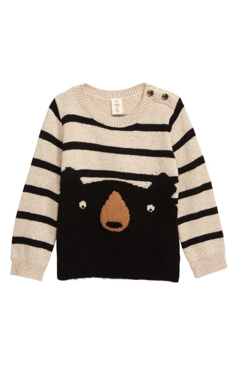 TUCKER + TATE Stripe Animal Sweater, Main, color, BEIGE OATMEAL HEATHER BEAR