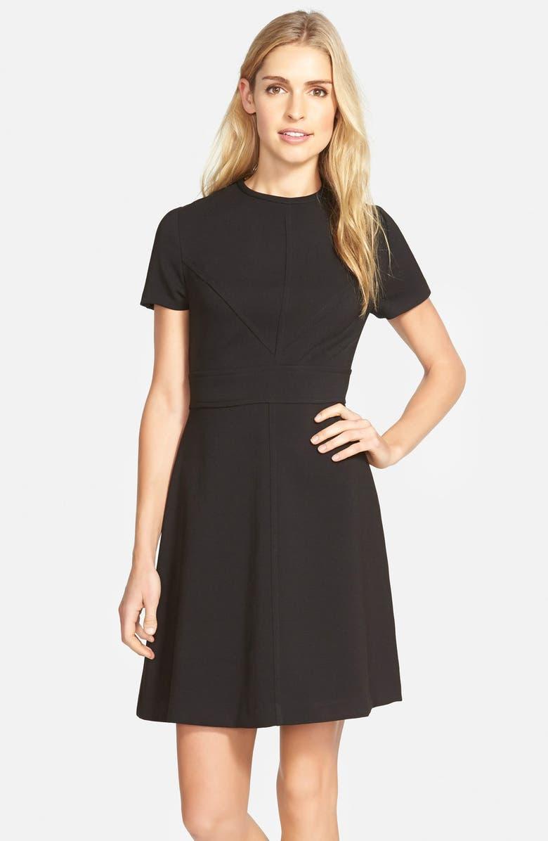 ELIZA J Seam Detail Crepe A-Line Dress, Main, color, 001