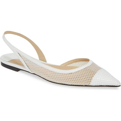 Jimmy Choo Fetto Mesh Flat, White