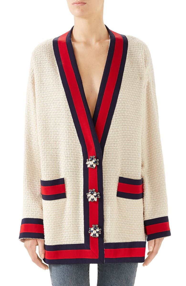 GUCCI Crystal Button Tweed Cardigan, Main, color, GARDENIA