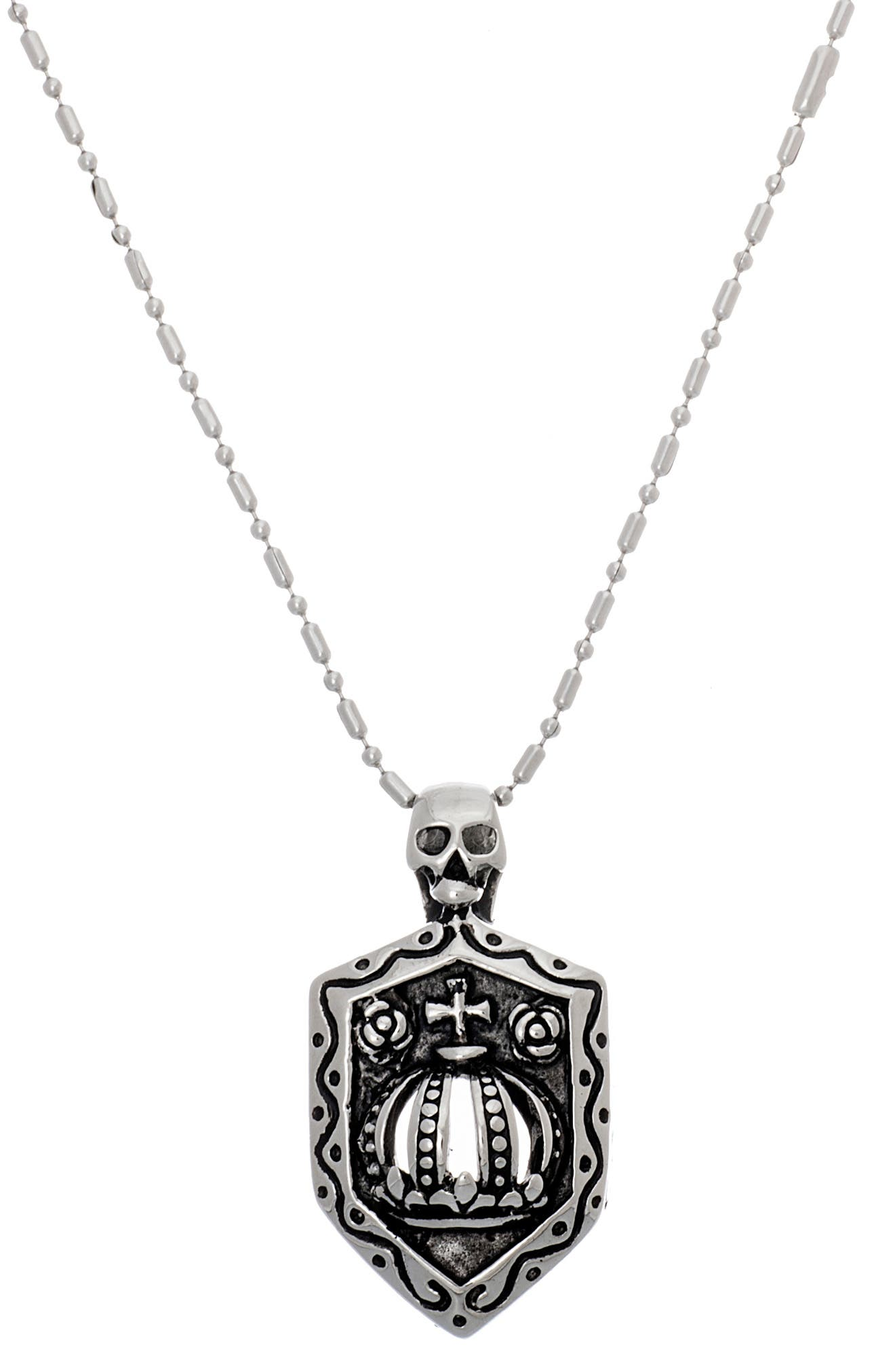 Image of Steve Madden Skull & Shield Bar Necklace