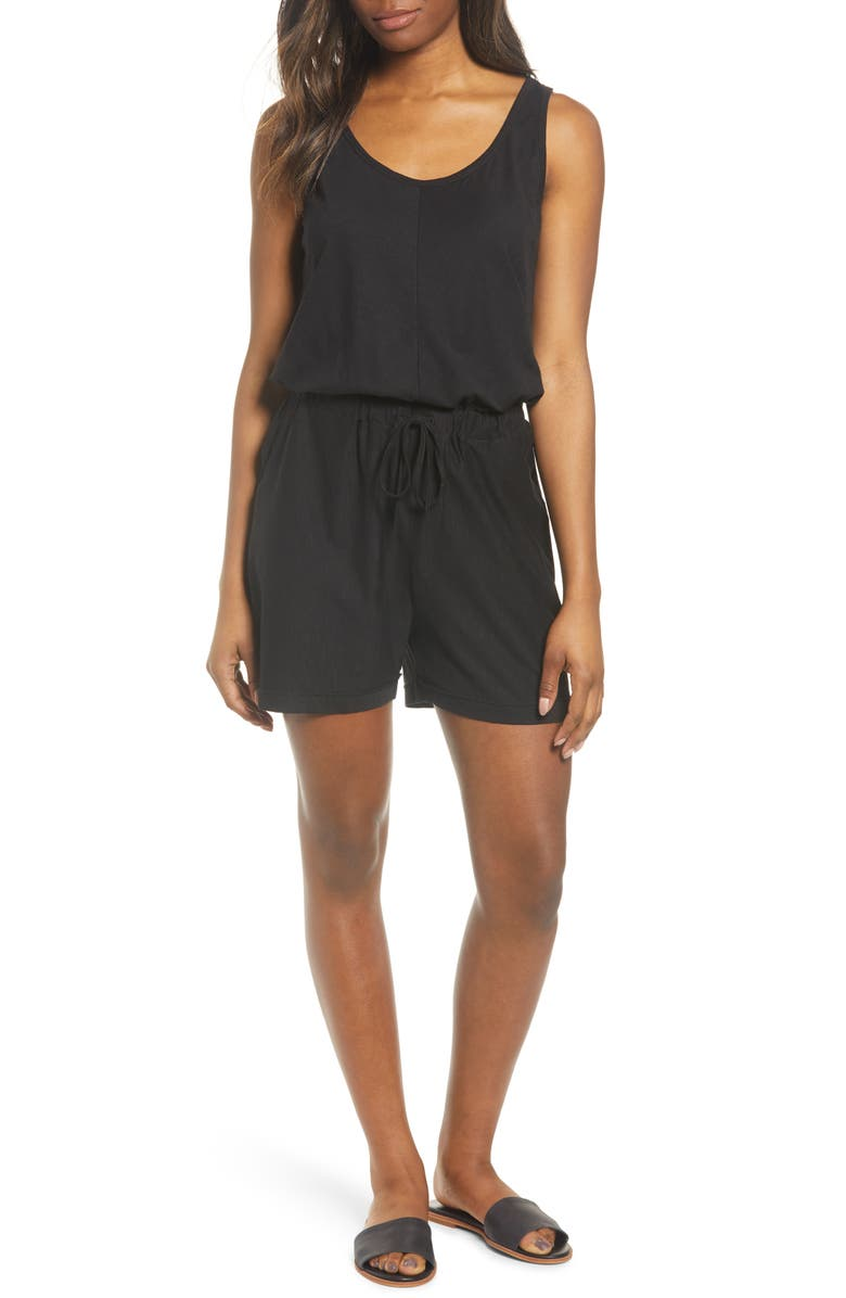 CASLON<SUP>®</SUP> Sleeveless Jersey Romper, Main, color, 001