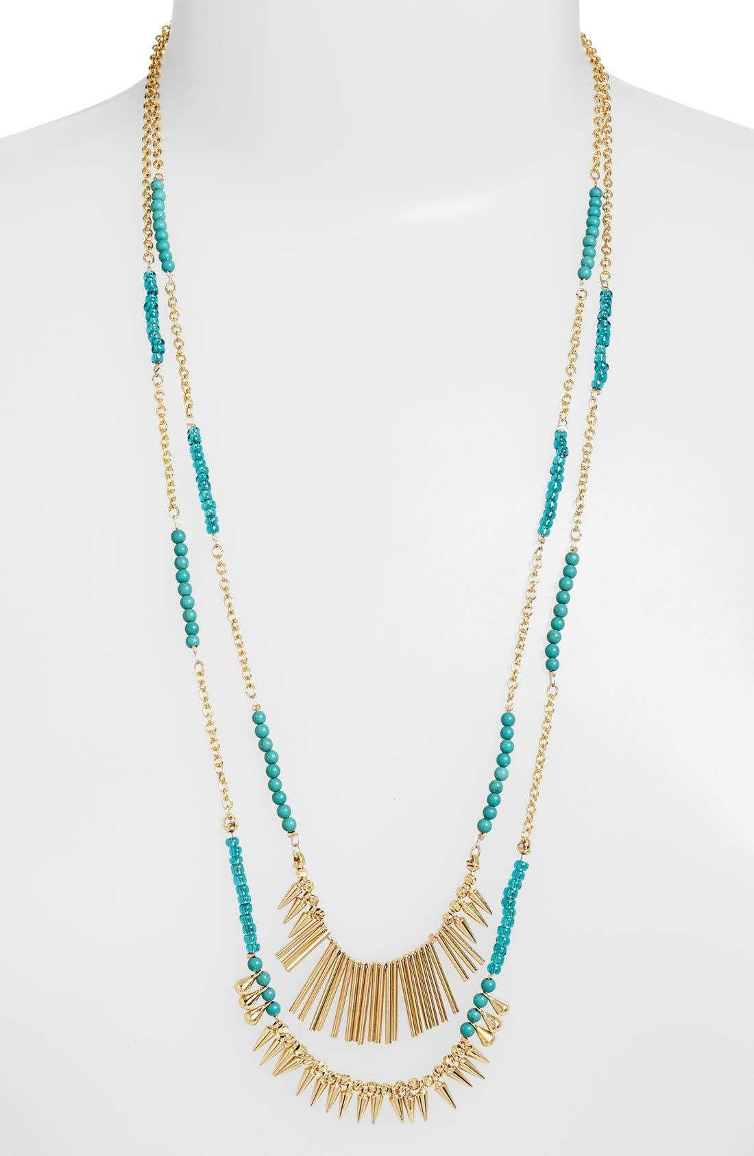 ,                             Beaded Fringed Two-Row Necklace,                             Main thumbnail 4, color,                             400