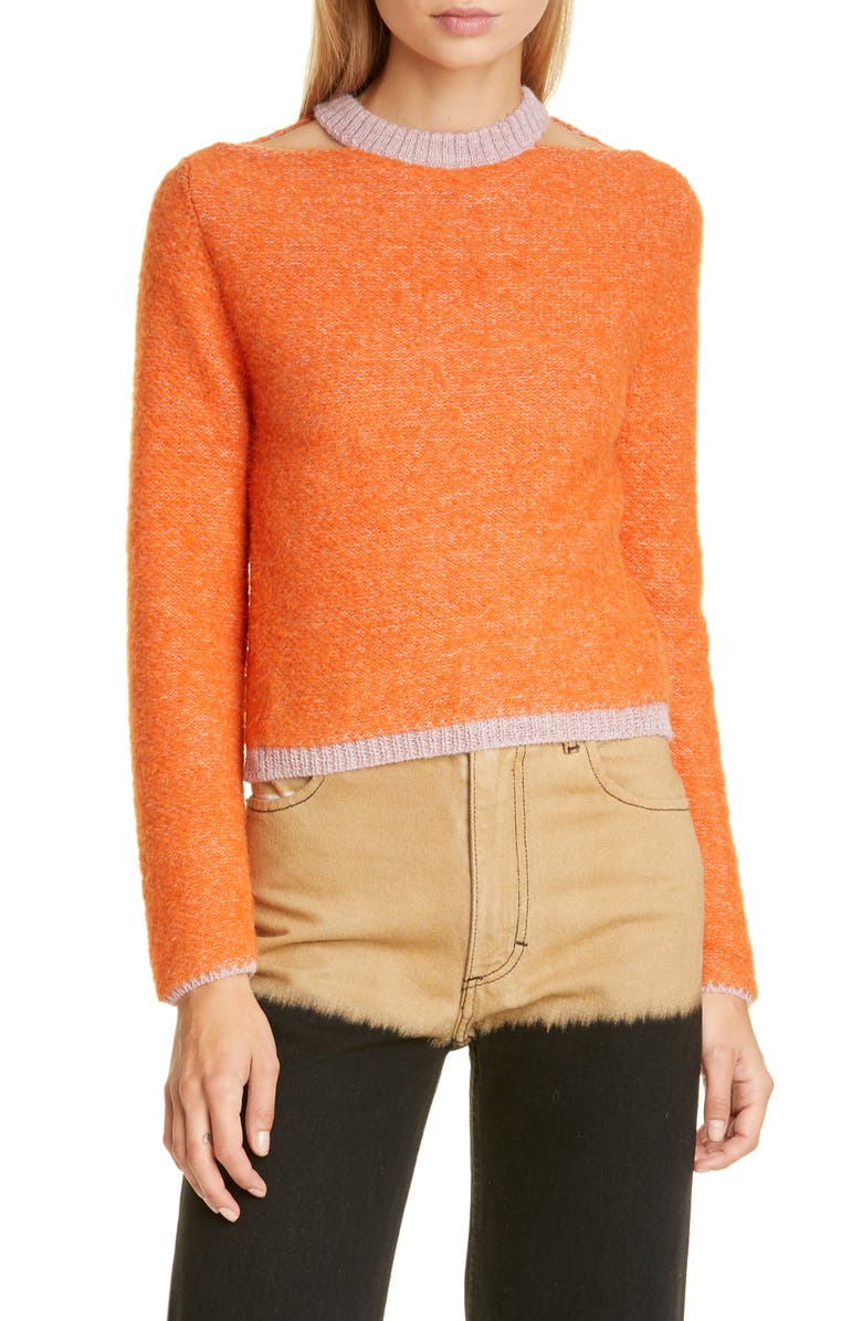 ECKHAUS LATTA Clavicle Cutout Crop Sweater, Main, color, PERSIMMON MAUVE