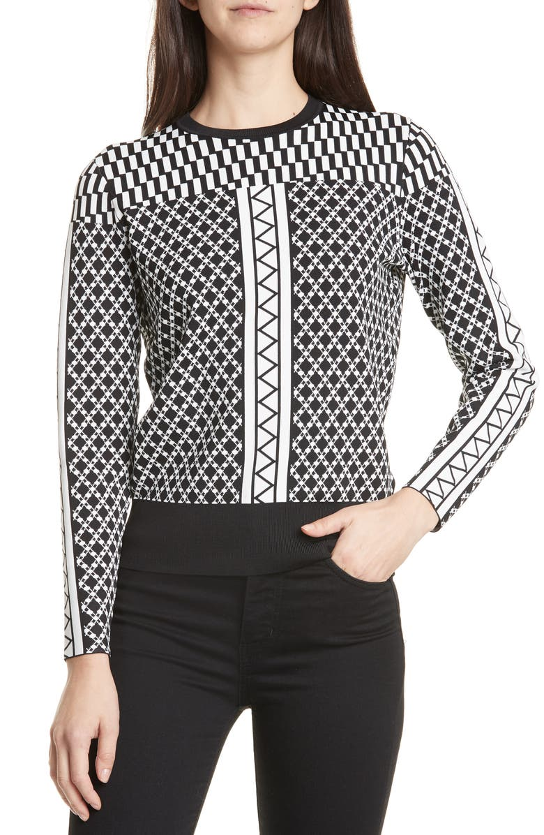 TED BAKER LONDON Joziff Mixed Pattern Sweater, Main, color, BLACK