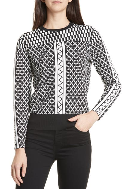 Ted Baker Joziff Mixed Pattern Sweater In Black