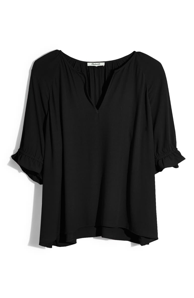 MADEWELL Notched Ruffle Cuff Top, Main, color, 001