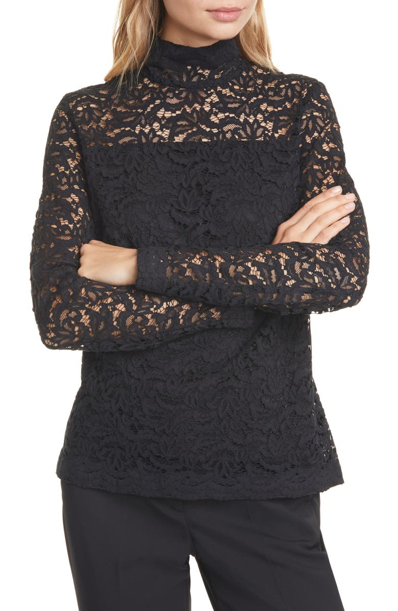 JUDITH & CHARLES Bellini Lace Blouse, Main, color, BLACK