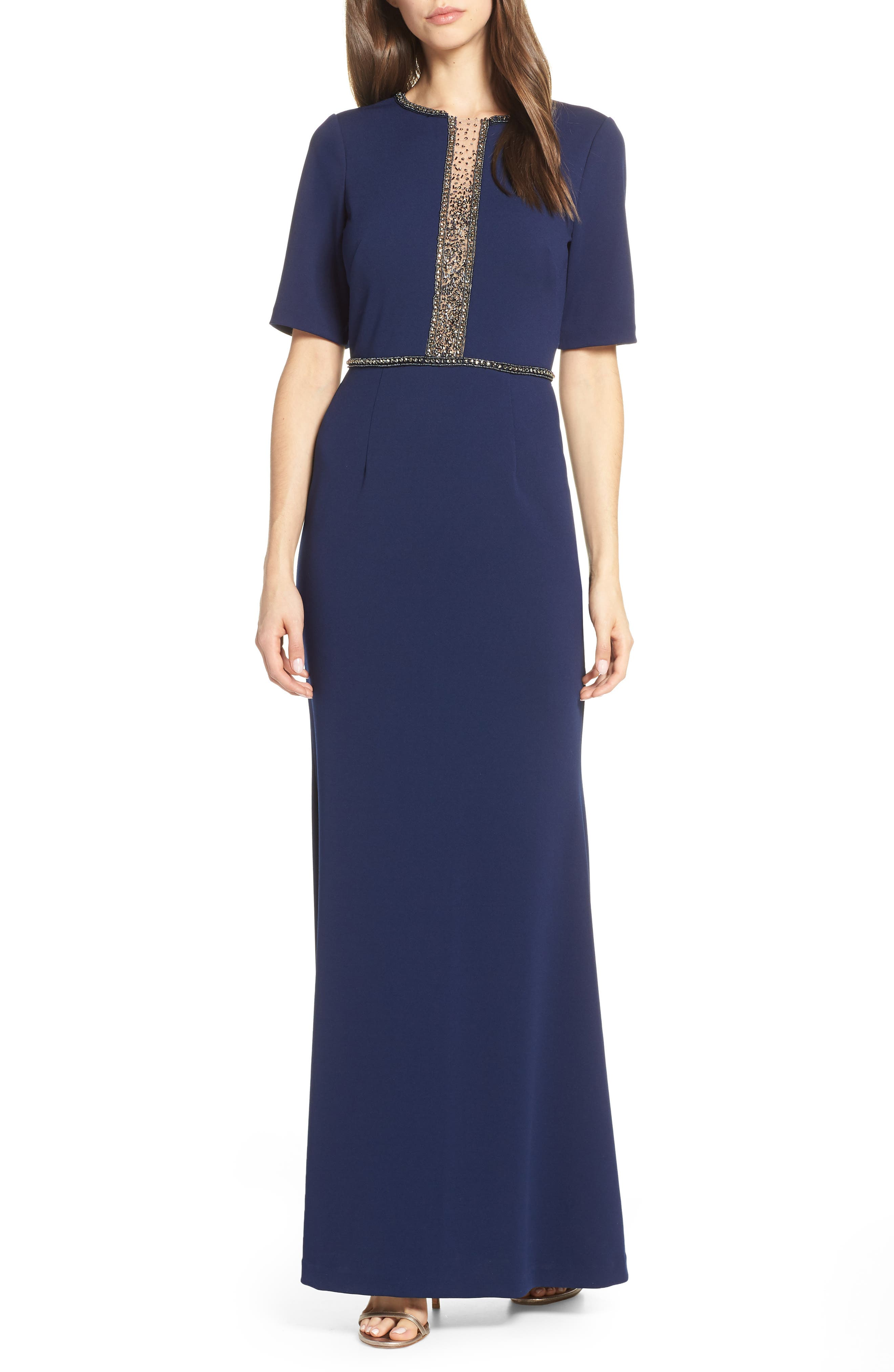 Adrianna Papell Beaded Crepe Evening Dress, Blue