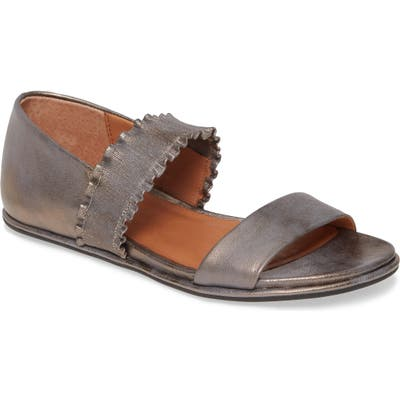 Gentle Souls By Kenneth Cole Lark Ruffle Strap Sandal- Metallic