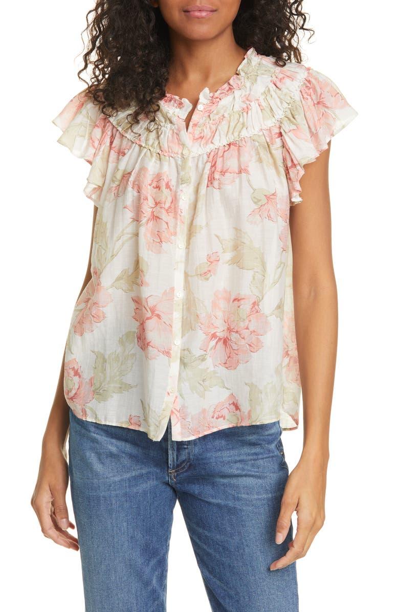 LA VIE REBECCA TAYLOR Peonies Floral Print Cotton & Silk Top, Main, color, CREAM COMBO