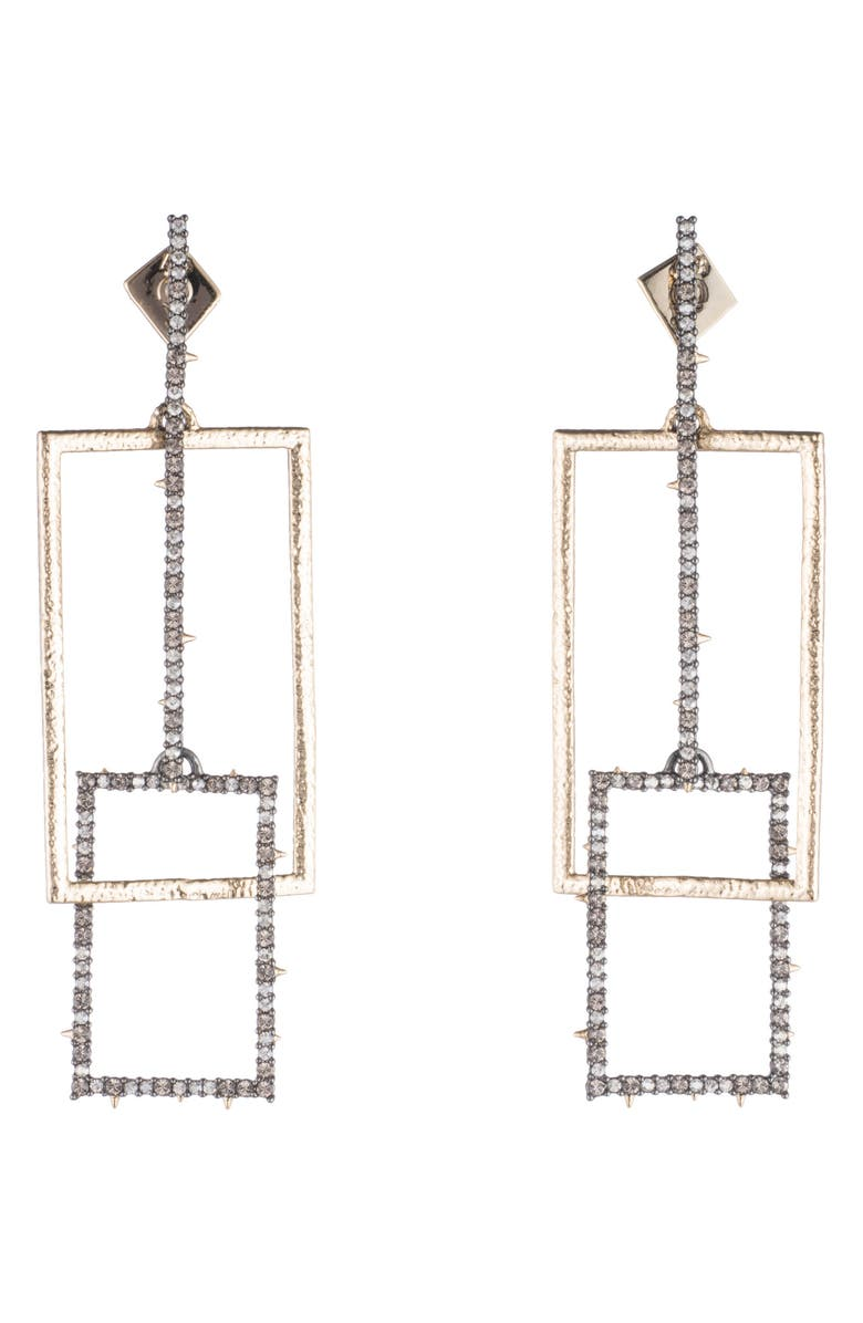 ALEXIS BITTAR Brutalist Butterfly Crystal Encrusted Linear Earrings, Main, color, GOLD