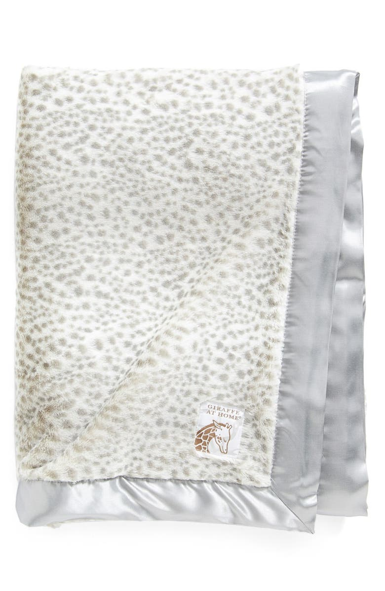 GIRAFFE AT HOME Luxe Snow Leopard Faux Fur Throw, Main, color, SILVER