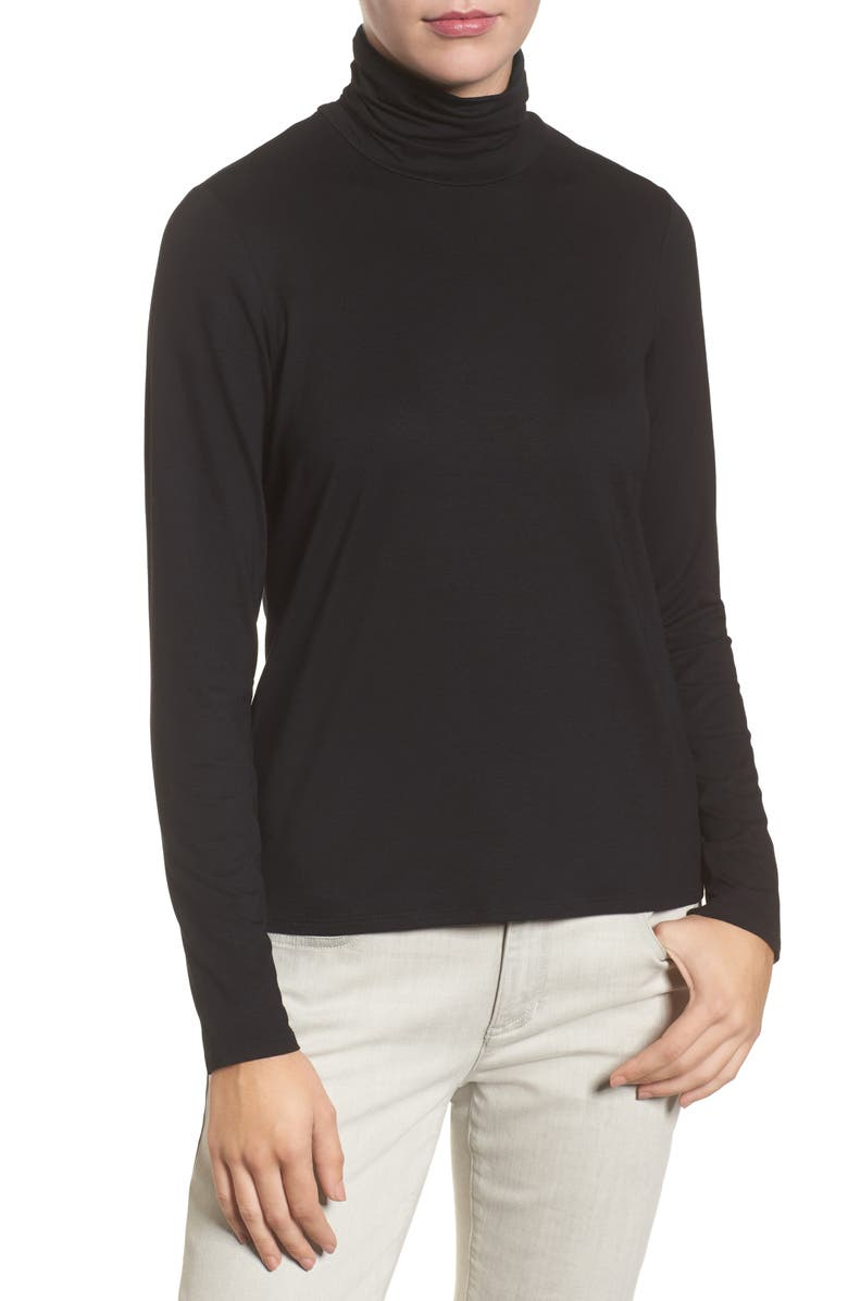 EILEEN FISHER Scrunch Neck Top, Main, color, 001