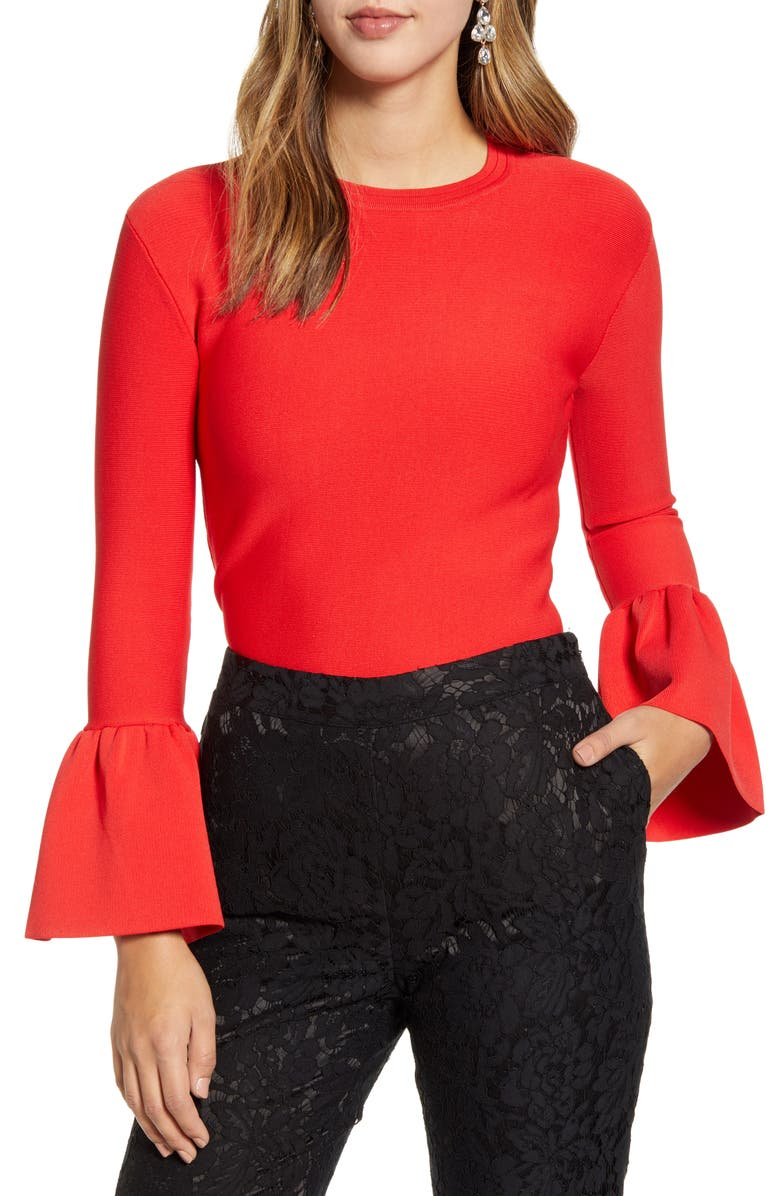 RACHEL PARCELL Exaggerated Bell Sleeve Sweater, Main, color, RED SCARLET