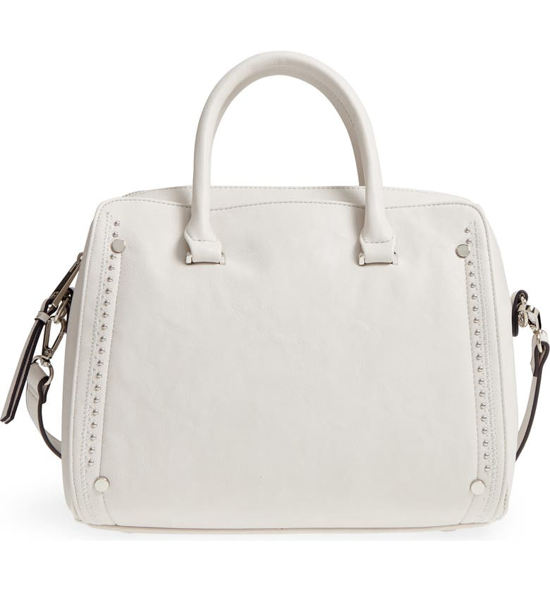 SOLE SOCIETY Speedy Studded Faux Leather Satchel, Main, color, 101