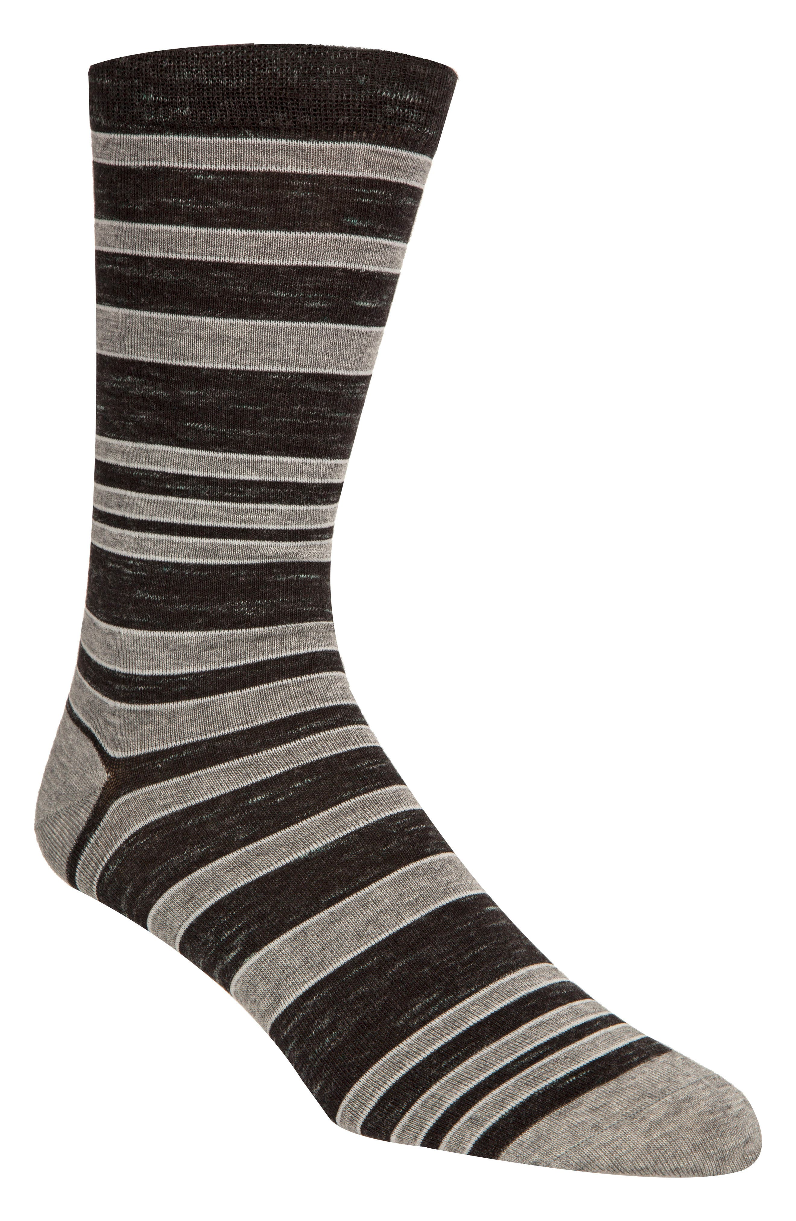 ,                             Stripe Socks,                             Main thumbnail 1, color,                             BLACK RAIN HEATHER