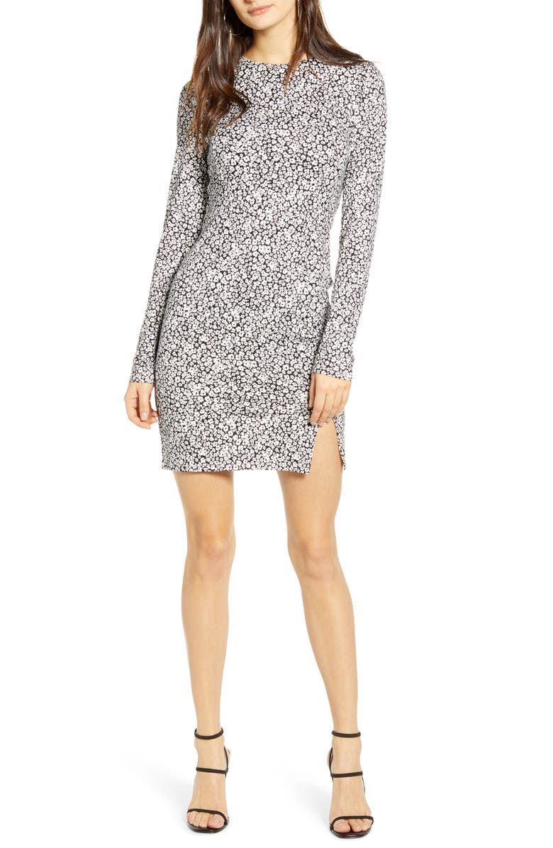 LEITH Easy Fit Long Sleeve Minidress, Main, color, BLACK LAYLA DENSE FLORAL