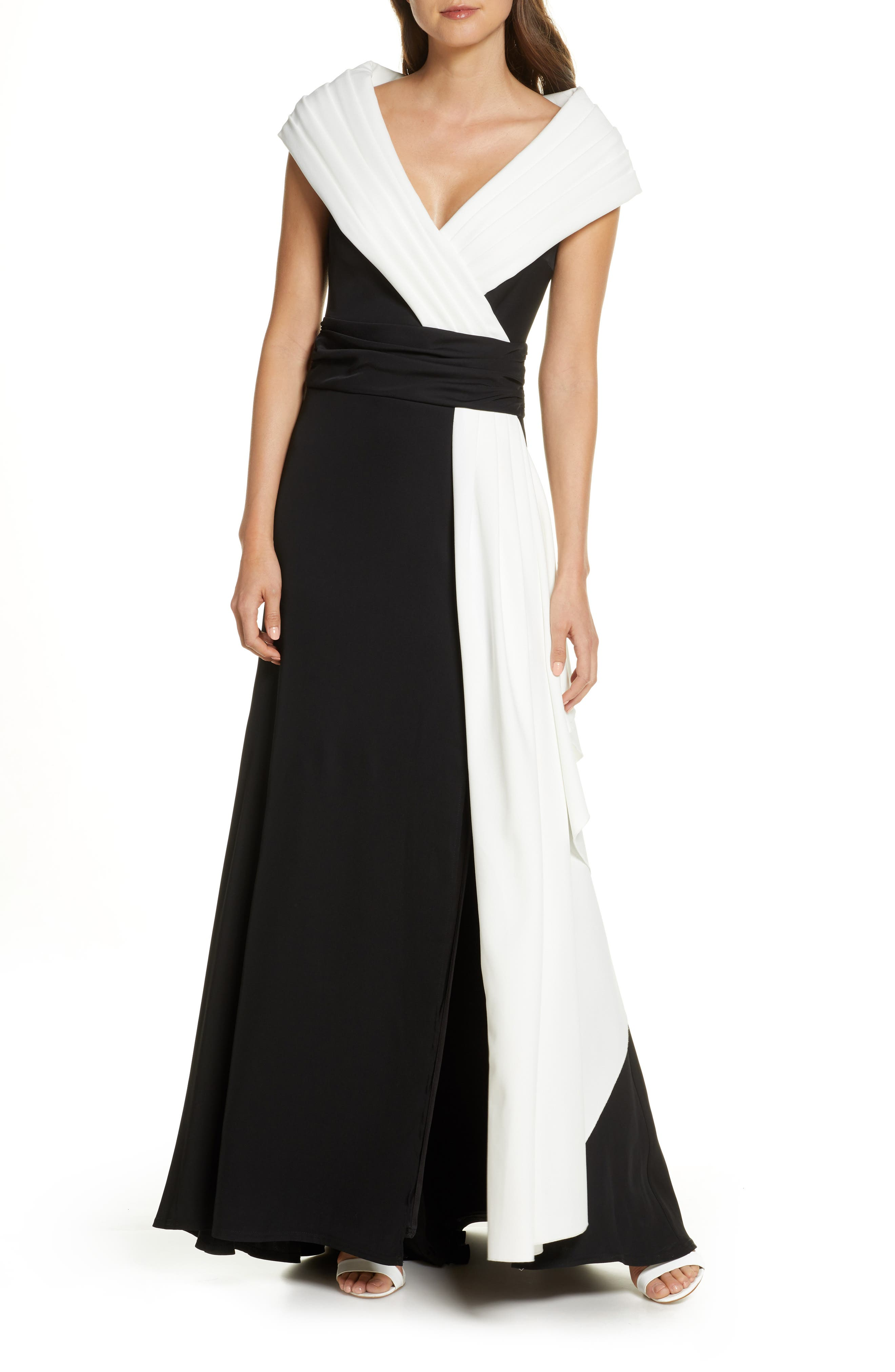 1980s Clothing, Fashion | 80s Style Clothes Womens Tadashi Shoji Portrait Collar Crepe Gown $468.00 AT vintagedancer.com