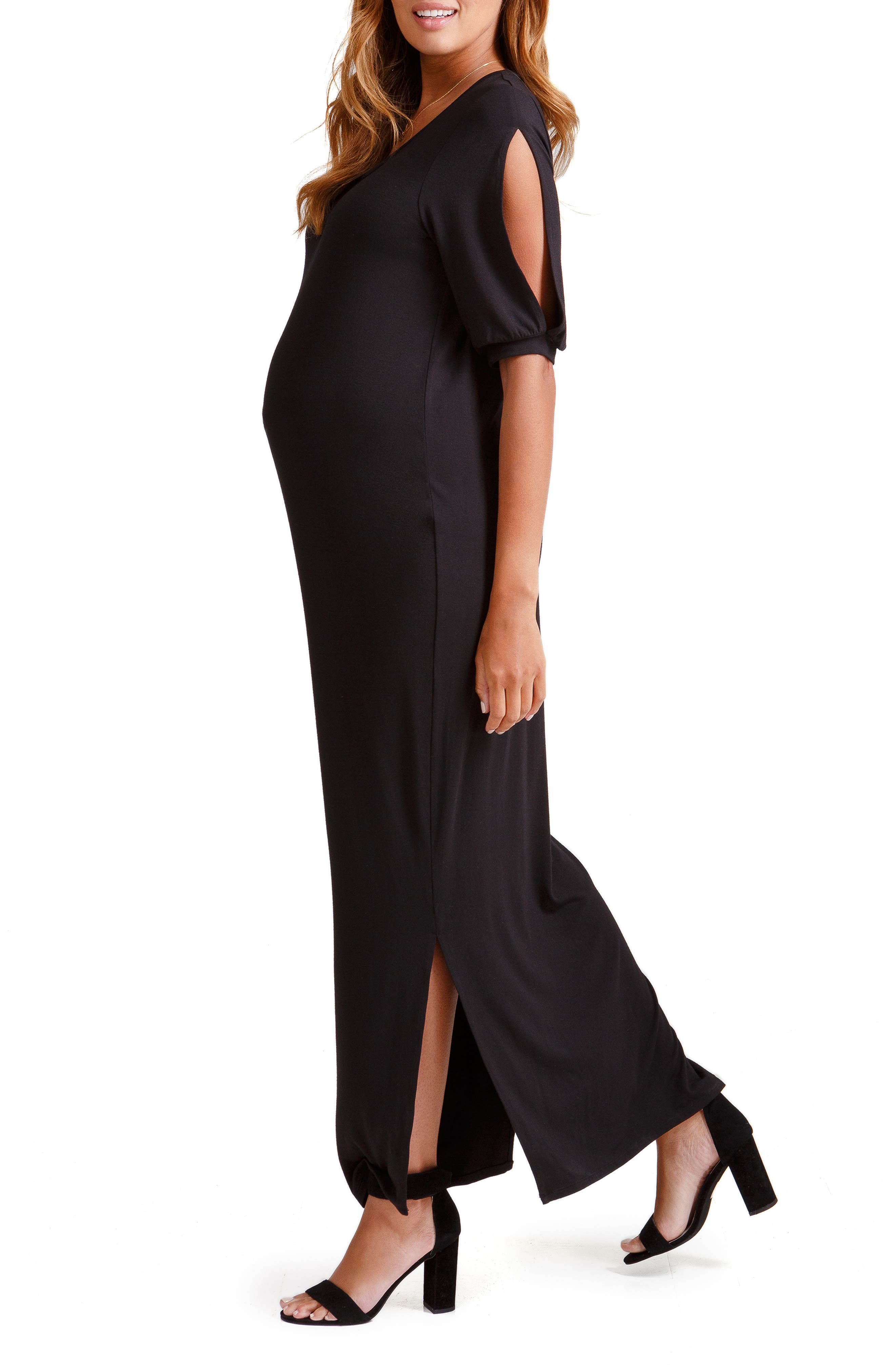 ,                             Split Sleeve Knit Maternity Maxi Dress,                             Alternate thumbnail 3, color,                             006