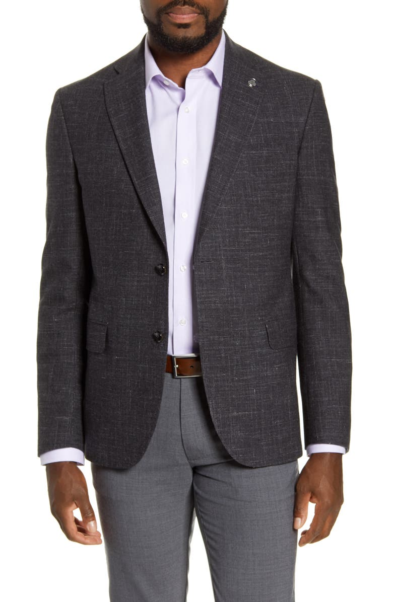 TED BAKER LONDON Ralph Slim Fit Wool Blend Sport Coat, Main, color, CHARCOAL