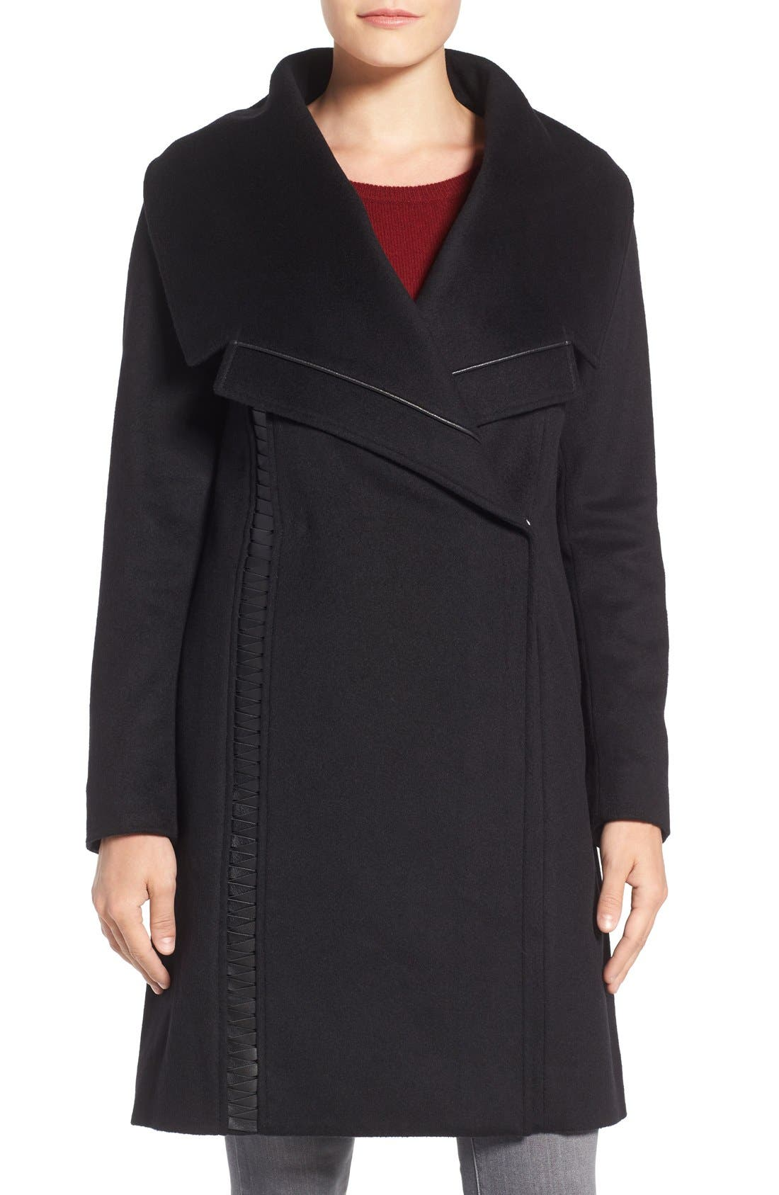 Badgley Mischka Womens Nikki Mid Length Italian Cashmere Wool Coat with Leather Braiding