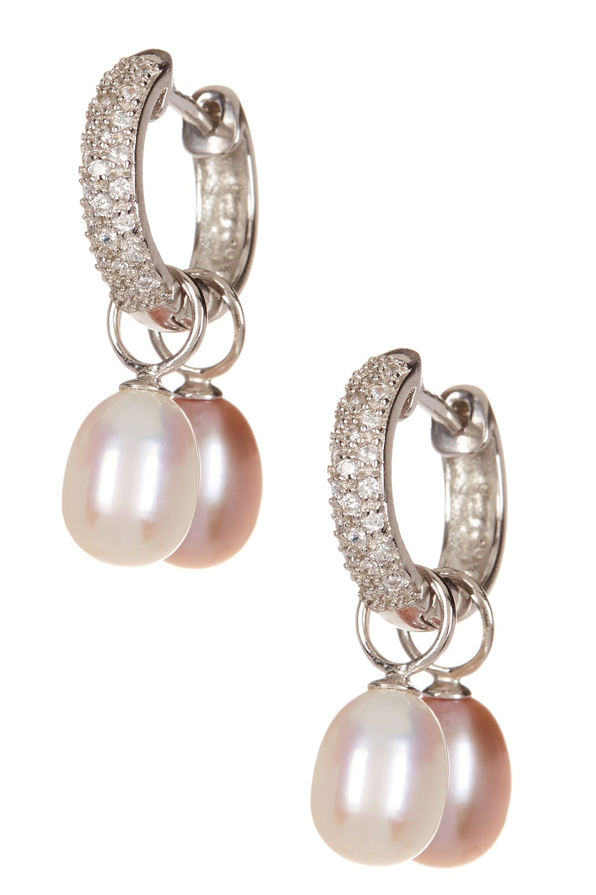 Image of Splendid Pearls 7.5-8mm White & Pink Cultured Freshwater Pearl Interchangeable Pave CZ Huggie Earrings