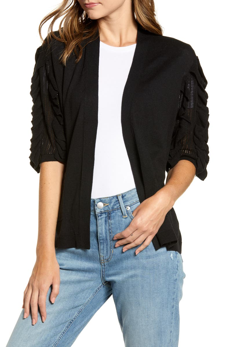 RACHEL PARCELL Ruffle Sleeve Cardigan Sweater, Main, color, 001