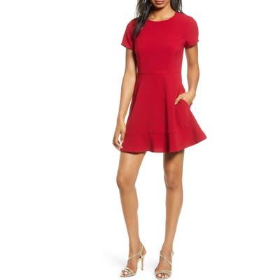 Speechless Lace Back Skater Dress, Red
