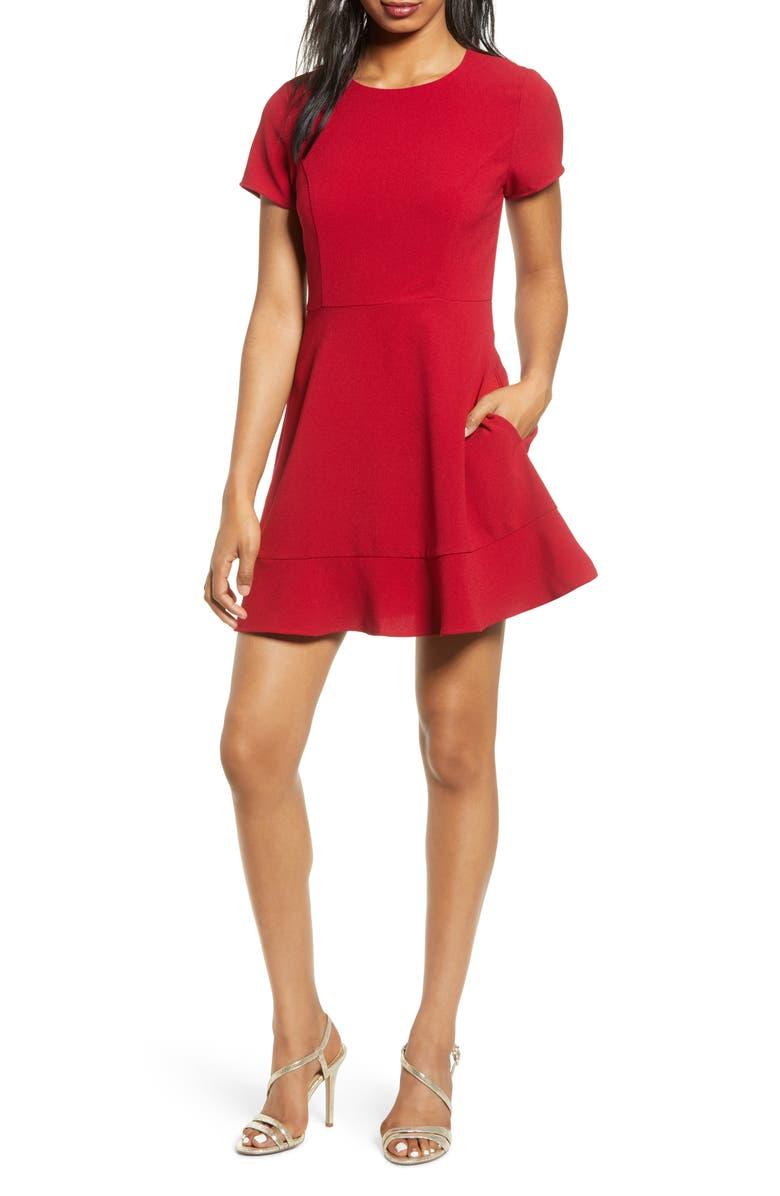 SPEECHLESS Lace Back Skater Dress, Main, color, GARNET