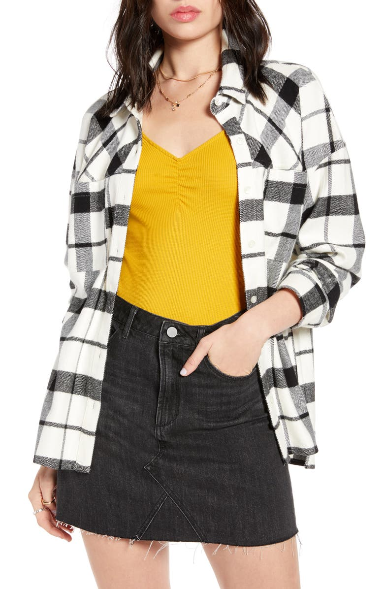 BP. x Claudia Sulewski Oversized Flannel Shirt, Main, color, IVORY GRAPHIC PLAID