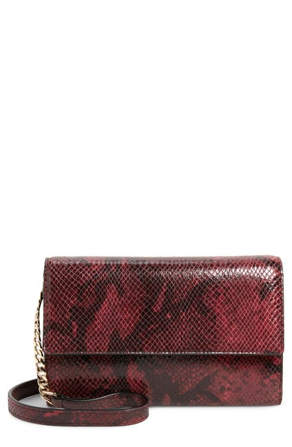 Image of Nordstrom Walla Snakeskin Embossed Leather Wallet on a Chain