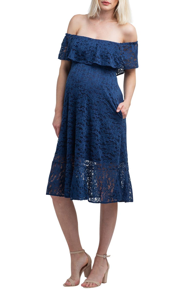 NOM MATERNITY Lucia Off the Shoulder Lace Maternity Dress, Main, color, NAVY