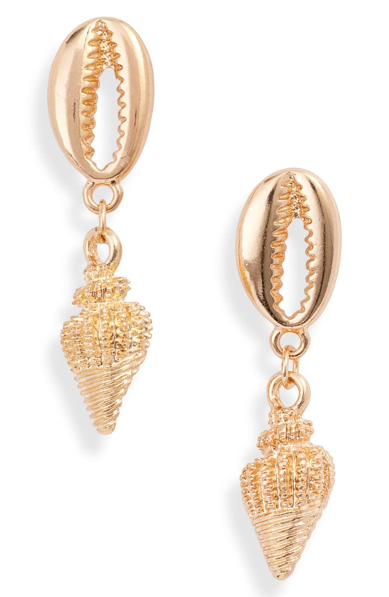 8 OTHER REASONS Waikiki Shell Drop Earrings, Main, color, GOLD
