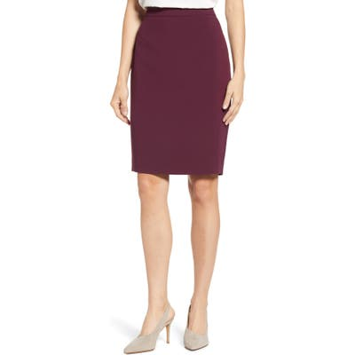 1.state Solid Pencil Skirt, Burgundy