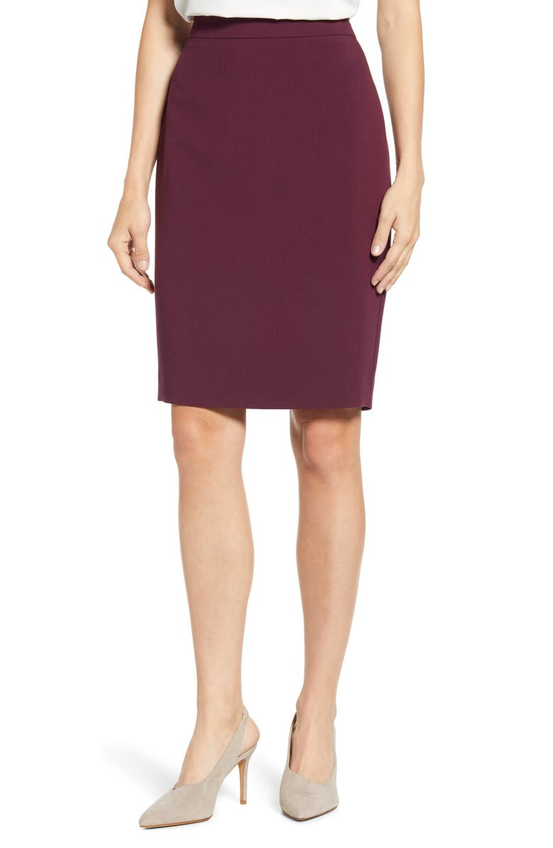 1.STATE Solid Pencil Skirt, Main, color, WARM PLUM
