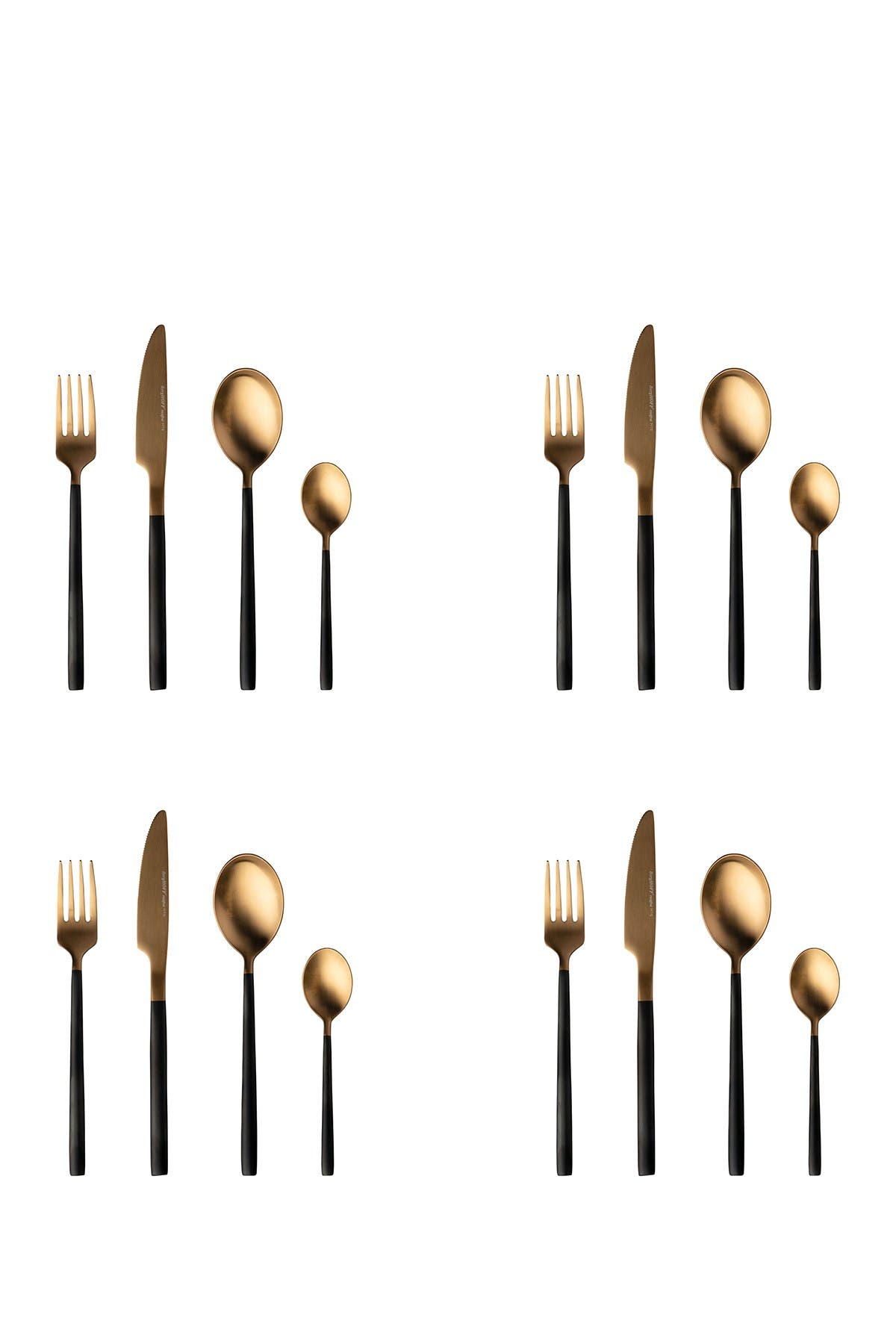 Image of BergHOFF Gem 16-Piece Black & Gold Plated Flatware Set